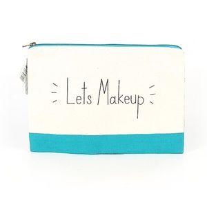 "NWT ""LET'S MAKEUP"" Turquoise Makeup Bag"